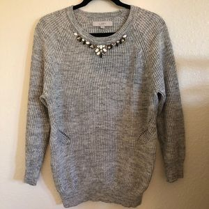 Loft Gray Embroidered Knit Sweater